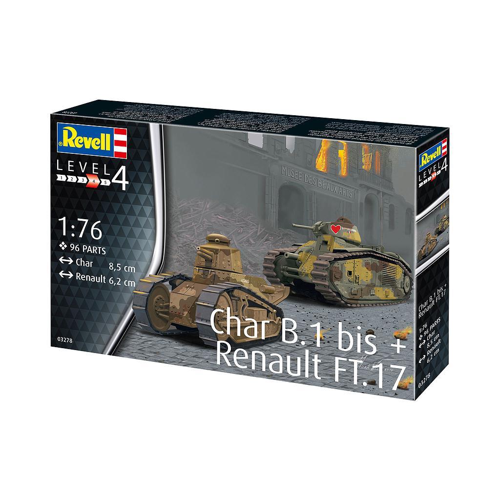 Revell Char. B.1 bis & Renault FT.17 1:76