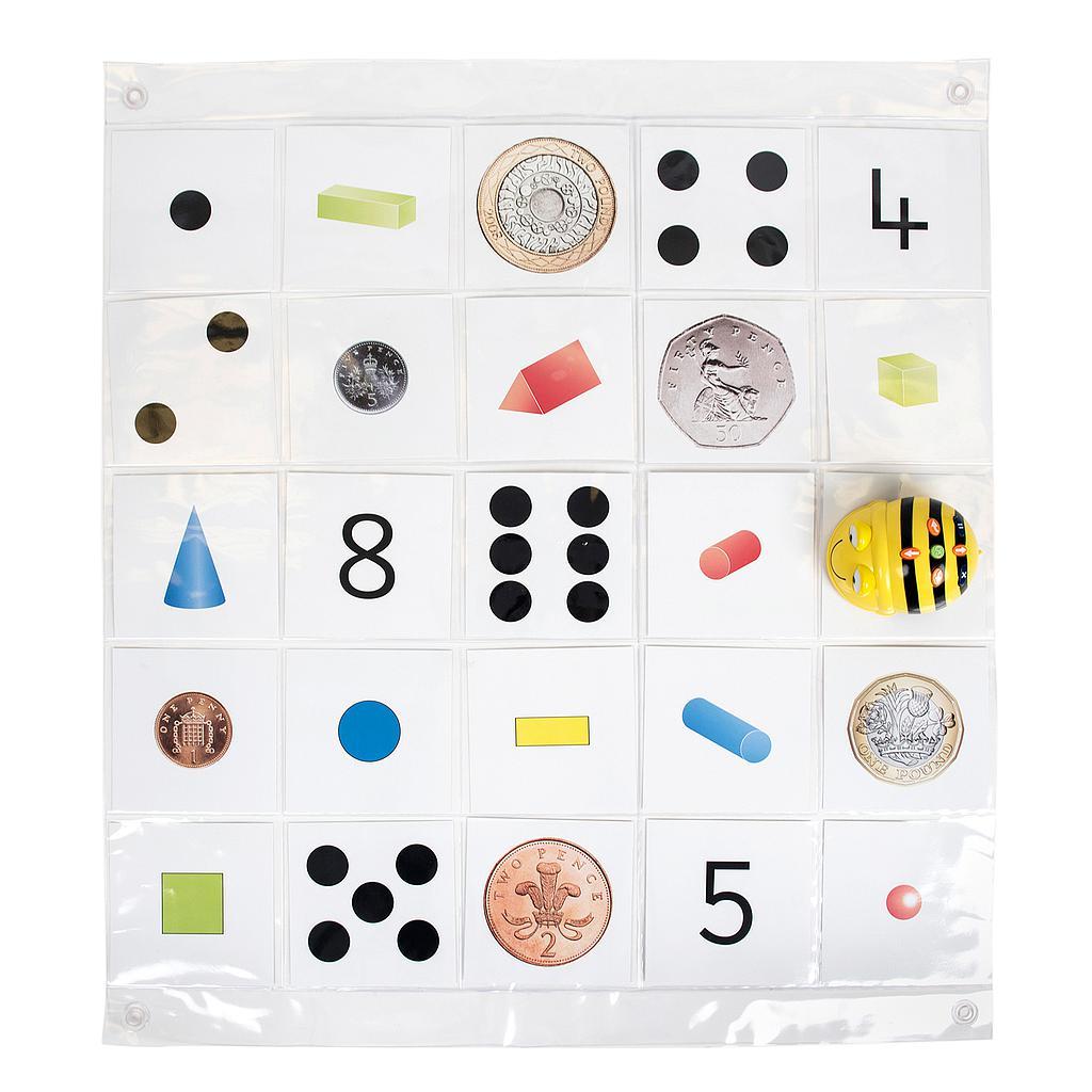 Bee-Bot läbipaistev taskutega matt (8 x 8 ruutu)
