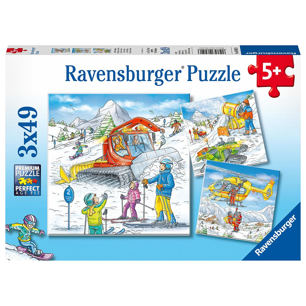 Ravensburger pusle 3x49 tk Suusarajal