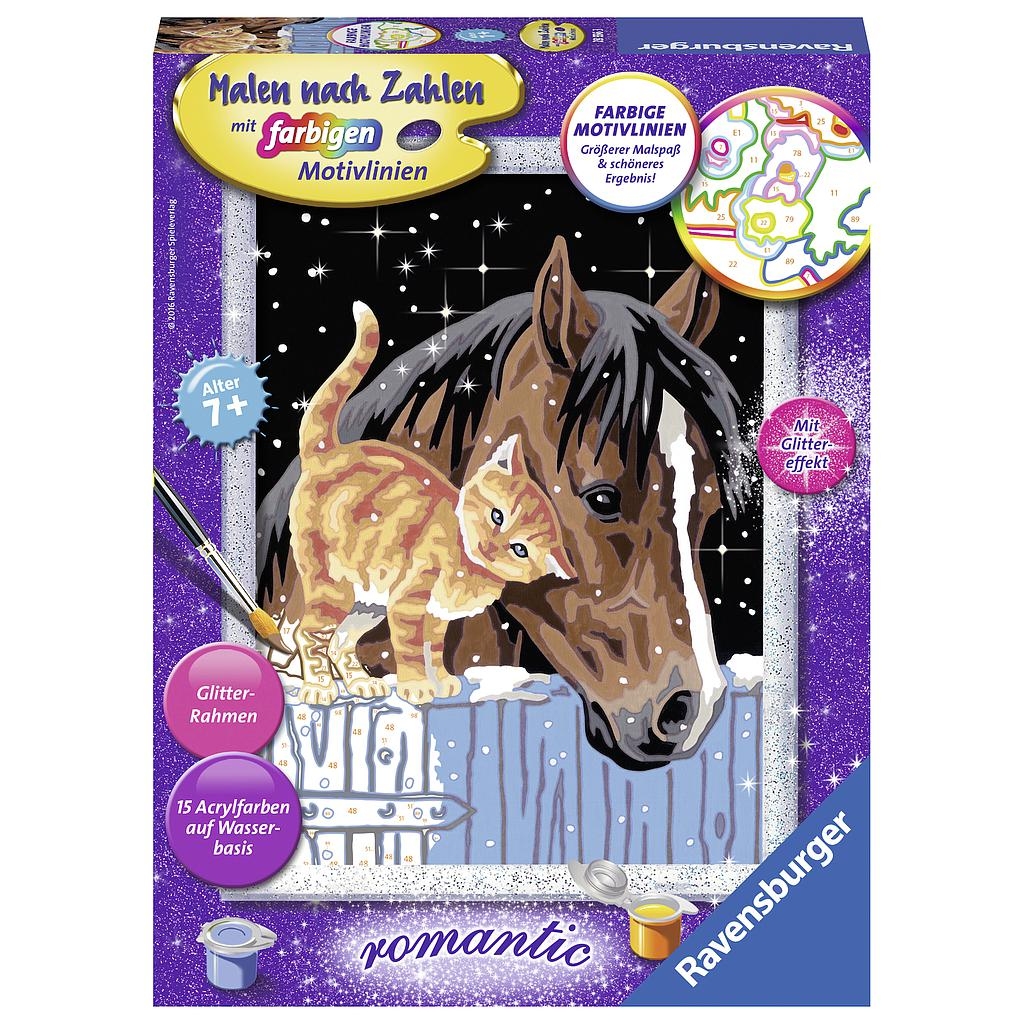 Ravensburger Paint by Numbers- Romantic Horse and Kitty