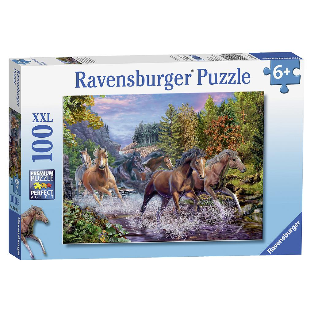 Ravensburger Puzzle 100 pc Rushing River Horses