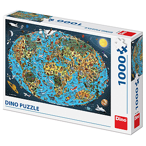 Dino Puzzle 1000 pc Map of the World drawing