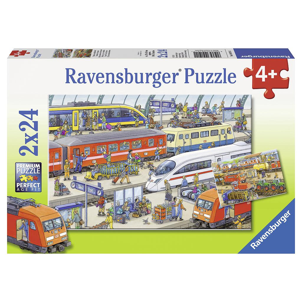 Ravensburger Puzzle 2x24 pc Busy Train Station